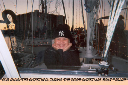 Our daughter Christiana in 2003 Christmas Boat Parade